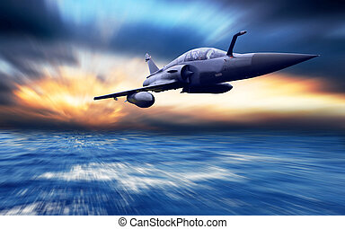 Military airplane on the speed