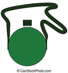 Cartoon illustration of a green military canteen