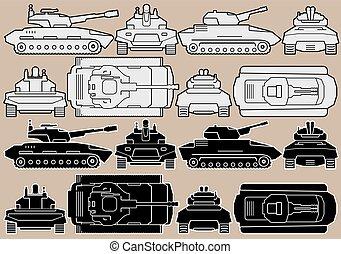 Military Equipment. Set of Armored Battle Tanks