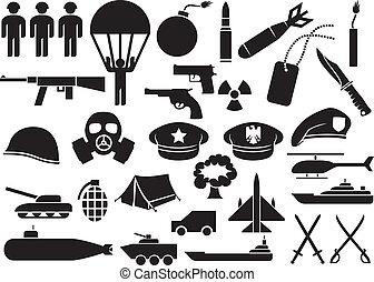 military icons (knife, handgun, bomb, bullet, gas mask, swords, helmet, captain hat, explosion, dynamite, tent, machine gun, military beret, armoured personnel carrier, aircraft carrier, battleship)