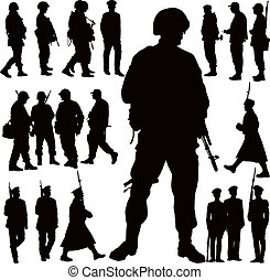 Soldiers and police vector illustration collection. Twenty military people.