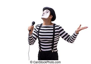 Mime singing isolated on white background