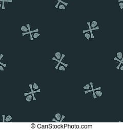 Minimalistic death seamless pattern with skulls and bones. Dark navy blue background. Halloween backdrop.