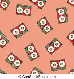 Minimalistic random cassette seamless pattern. Doodle ornament in red and green bright tones on pastel pink background.