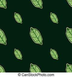 Minimalistic seamless doodle pattern with green vitamin lemon ornament. Black background.