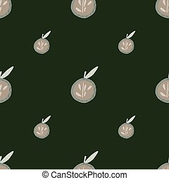 Minimalistic seamless pattern with doodle grey apple ornament. Dark green olive background.