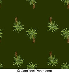 Minimalistic style seamless pattern with green tree palm ornament. Dark olive background. Doodle style.