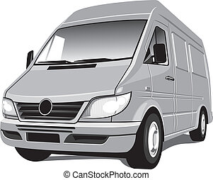 Vector isolated mini bus van, cargo and passengers