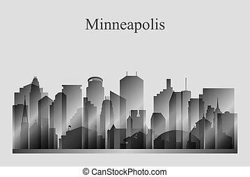 Minneapolis city skyline silhouette in grayscale
