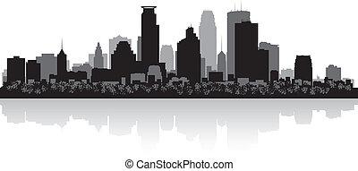 Minneapolis USA city skyline silhouette vector illustration