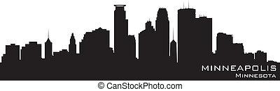 Minneapolis, Minnesota skyline. Detailed vector silhouette