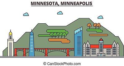 Minnesota, Minneapolis. City skyline: architecture, buildings, streets, silhouette, landscape, panorama, landmarks, icons. Editable strokes. Flat design line vector illustration concept.