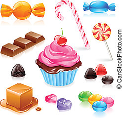 Set of various candy elements including caramel, chocolate, lollipops and fruit gum.