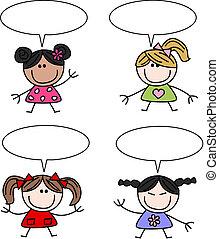 mixed ethnic happy children girls