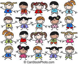 mixed ethnic happy kids children