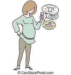 Mobile Device Shopping Pregnant Woman