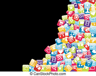 Smartphone app icon set isolated over black background. Vector file layered for easy manipulation and customisation.