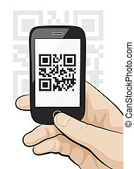 """Illustration of a mobile phone in the male hand scanning qr code with """"Information"""" data."""