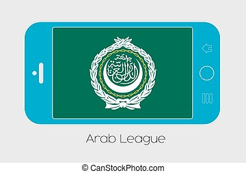 Mobile Phone with the Flag of Arab League