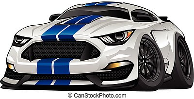 Hot modern American muscle car cartoon. White with blue stripes, aggressive stance, low profile, big tires and rims.