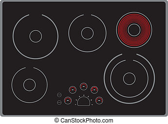 Modern electric stove surface with the included element. Vector illustration.