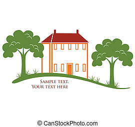 Modern house with trees and grass in vector format. Real estate or construction