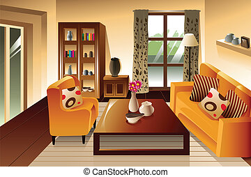 A vector illustration of modern living room space