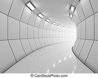 Modern illuminated long corridor