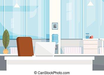 Modern Office Interior Workplace Empty Chair Desk Flat Illustration