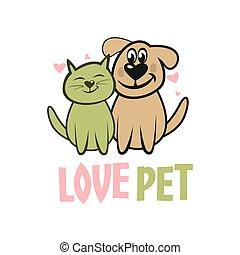 Modern pet dog and cat logo