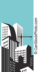 Modern skyscrapers in business district. Downtown building. Cityscape landscape. City design architecture collection. Vector illustration.