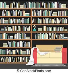 Modern Sofa With Huge Bookshelf Vector illustration