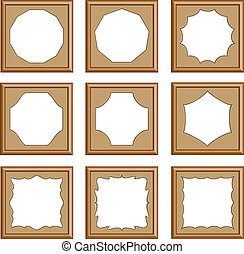 modern style of wood carved frames for picture, image, gallery, collection photo, 3d vector set