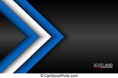 Modern vector overlayed arrows with Scotch colors and grey free space for your text, overlayed sheets of paper in the look of the Scotch flag, Made in Scotland, abstract widescreen background