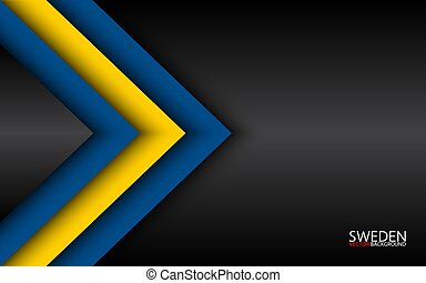 Modern vector overlayed arrows with Swedish colors and grey free space for your text, overlayed sheets of paper in the look of the Swedish flag, Made in Sweden, abstract widescreen background
