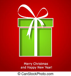 Modern Xmas greeting card with Christmas gift box