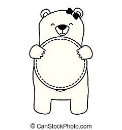 mom bear with badge blank
