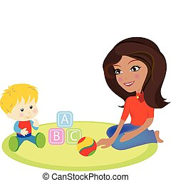 a vector illustration of a mommy and a baby sitting on the ground playing with toys