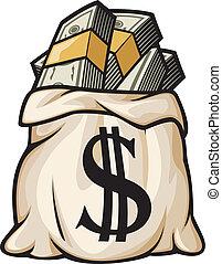 Money bag with dollar sign vector illustration (money bag filled dollars)