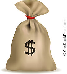 Money bag with dollars. Vector.