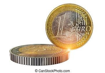 money balance euro coins balance on the edge trade stocks currency background  - 3d rendering