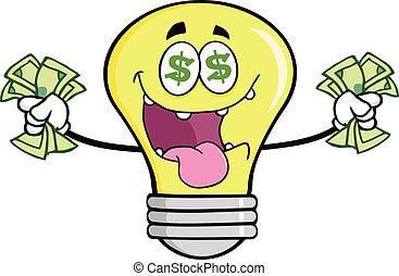 Money Loving Light Bulb Cartoon Character