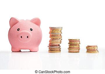 money saving and money tower