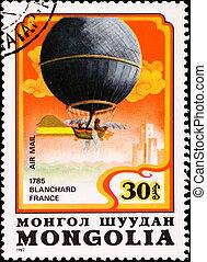 MONGOLIA - CIRCA 1982: postage stamp shows air balloon Blanchard France, circa 1982