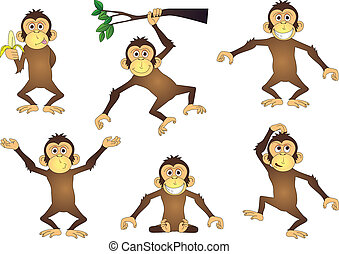 Vector illustration of funny monkey cartoon collection
