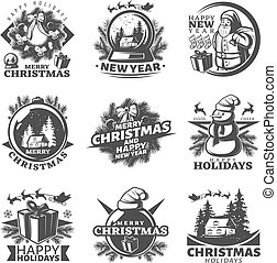 Nine isolated monochrome vintage christmas labels set with holiday symbolics and decorative happy new year superscriptions vector illustration