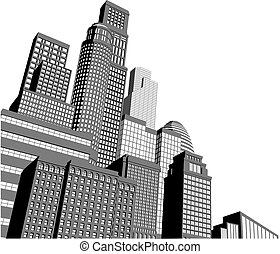 Monochrome gray and black and white city illustration with dramatic perspective