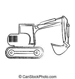 monochrome contour hand drawing of backhoe