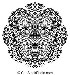 Coloring book for adults. The head of a dog with a circular pattern. Zenart.
