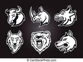 Monochrome logo set : Bull, rhino, wolf, dog, bear , dragon head isolated mascot vector logo concept.